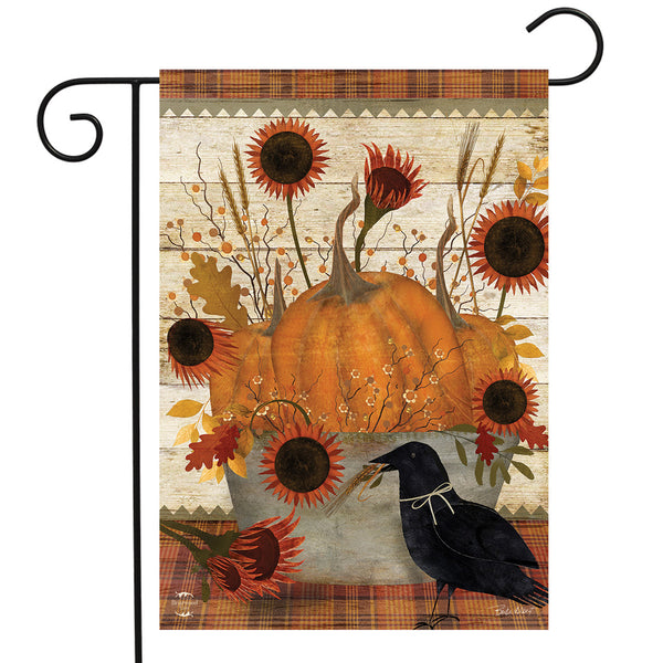 Folk Art Pumpkins and Flowers Garden Flag