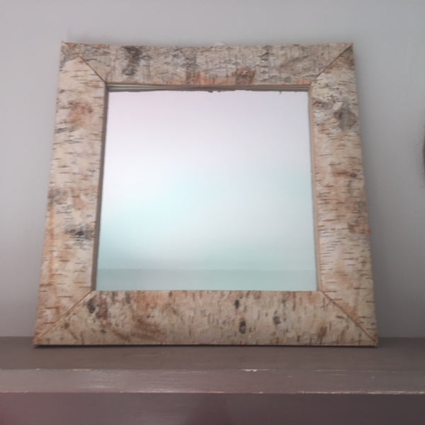 Log Cabin Style Bark Framed Mirror