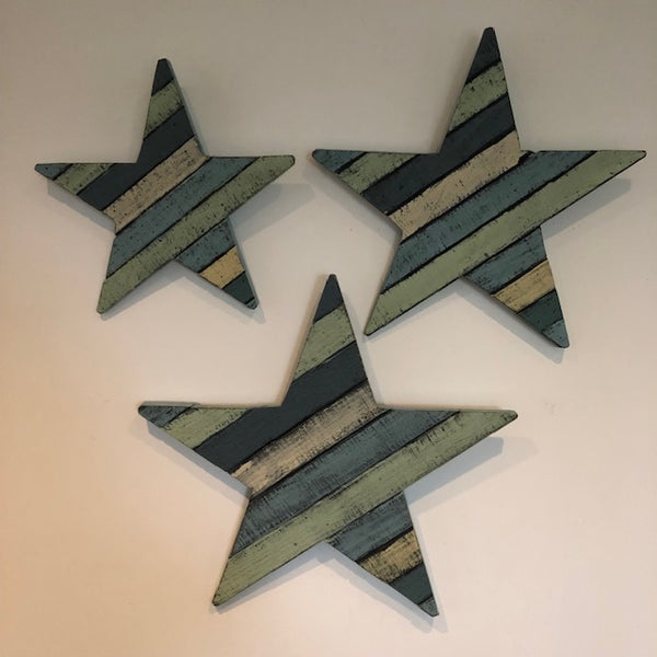 Set of 2 Painted Wooden Stars
