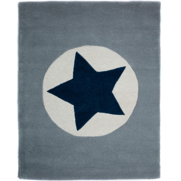 Grey Rug with Navy Star Design