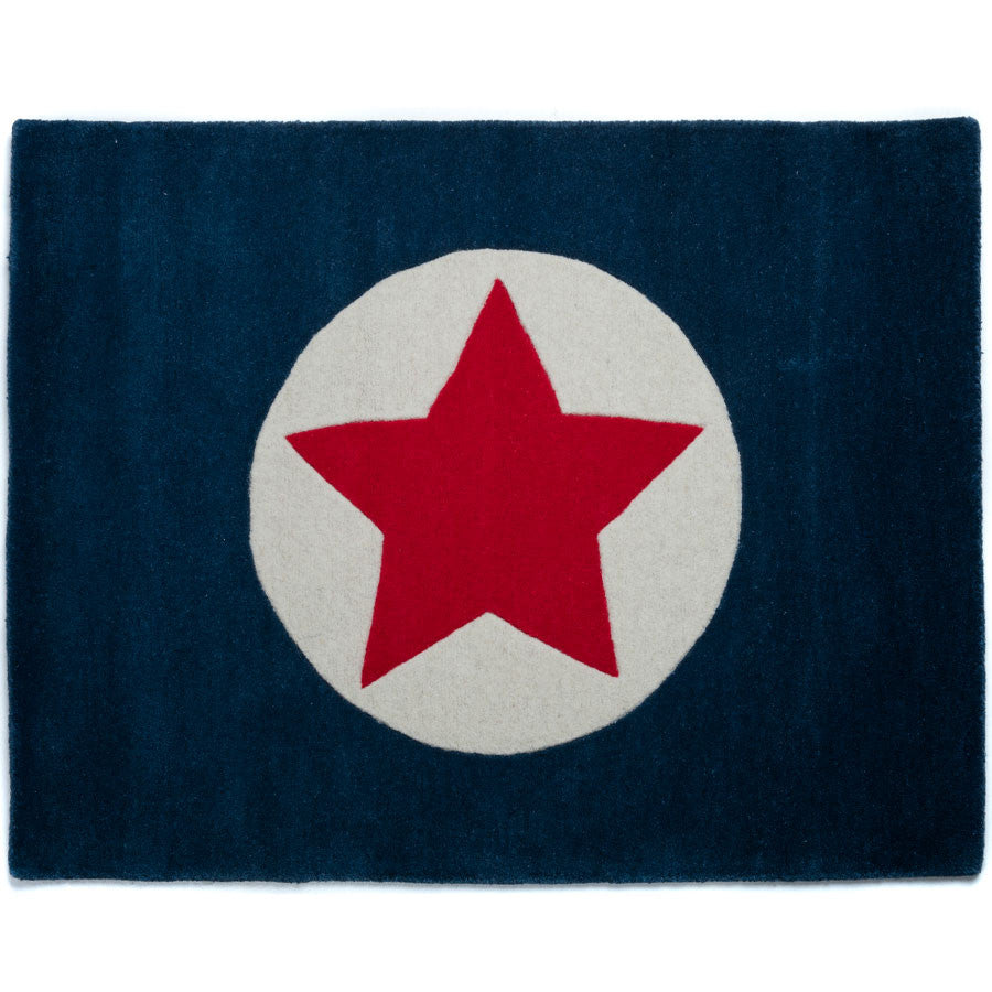Navy and Red Americana Star Rug