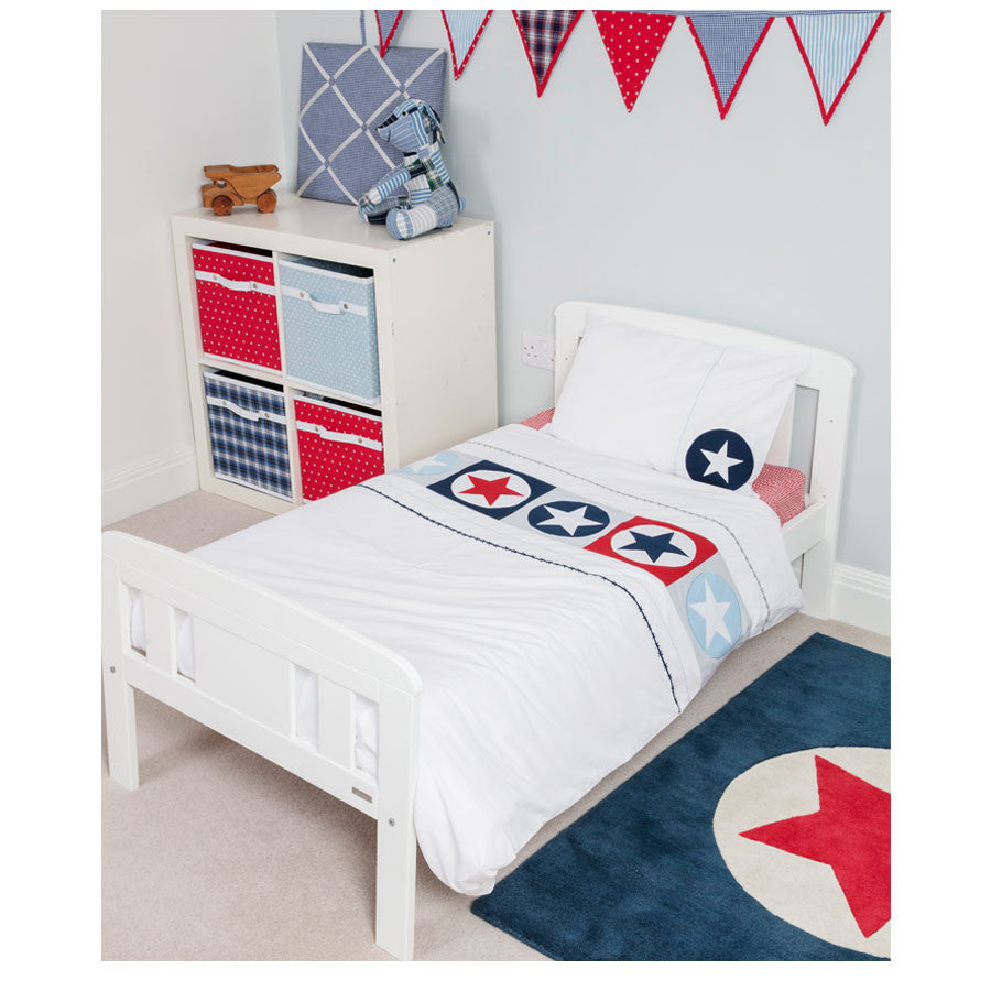Navy and Red Star in Circle Rug