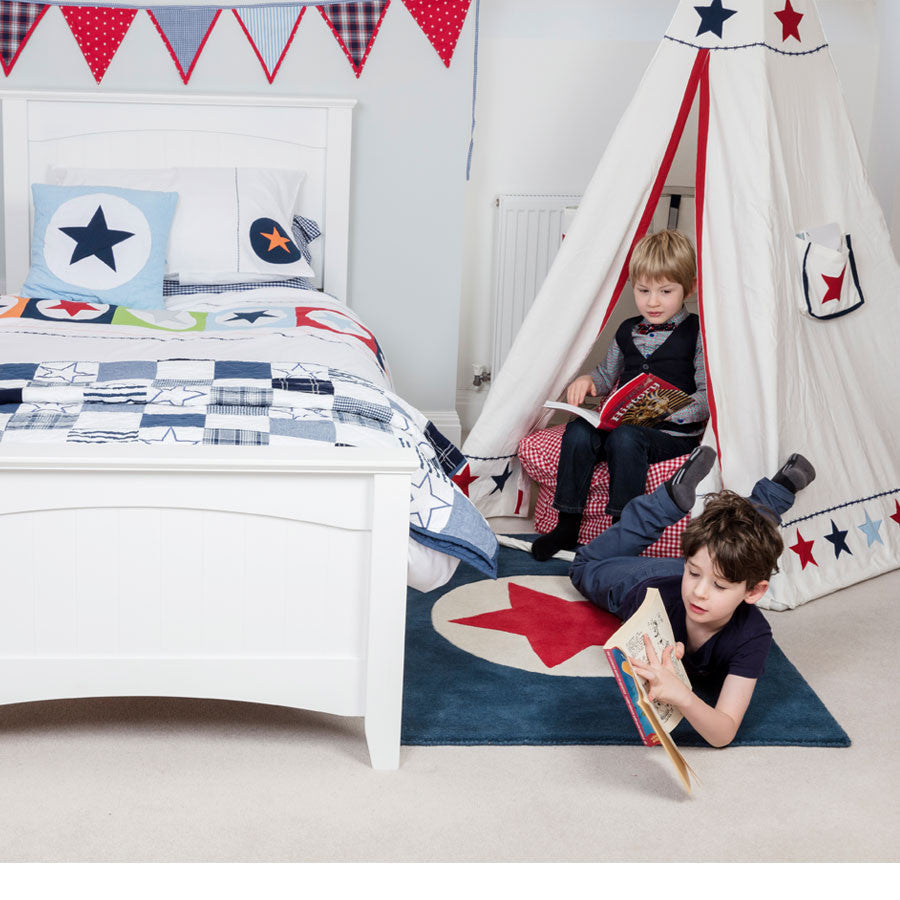 Navy and Red Children's Rug