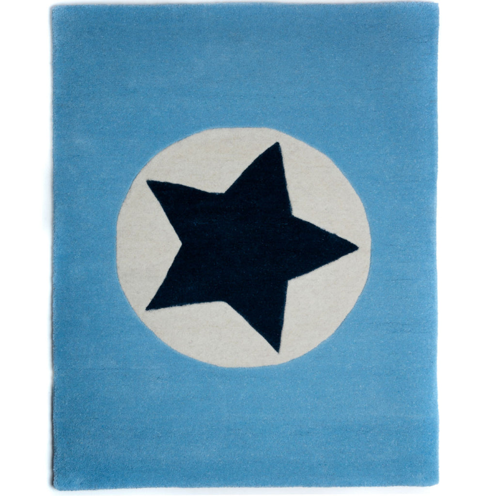 Blue Star in Circle Wool Rug