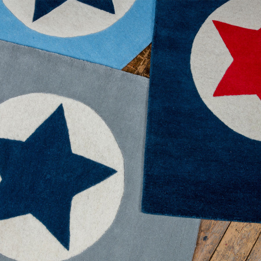 Grey Navy and Blue Star Rugs