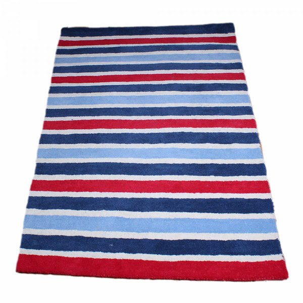 Red, White and Blue Wide Stripes Rug