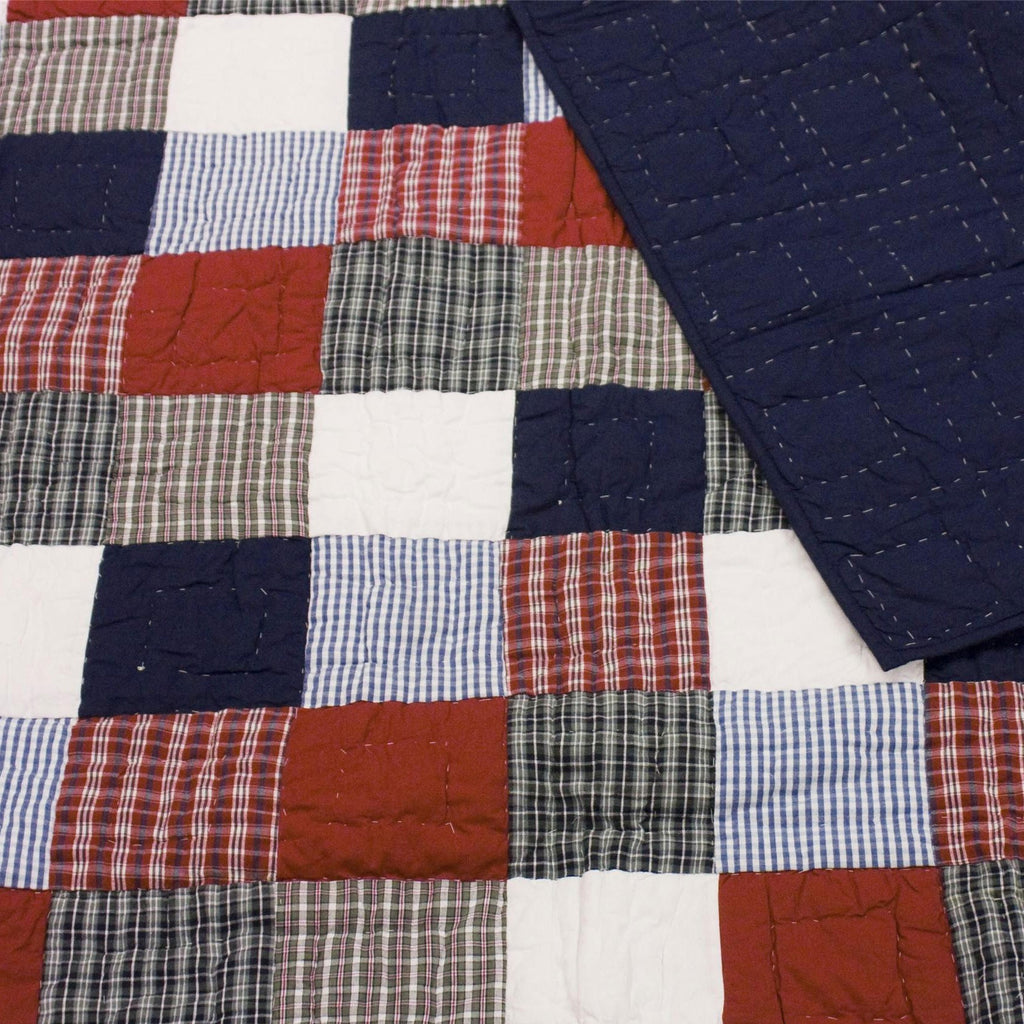 Red, White and Blue Patchwork Quilt and Reverse