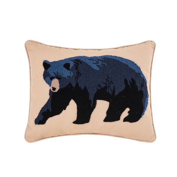 Hooked Bear on Cotton Cushion