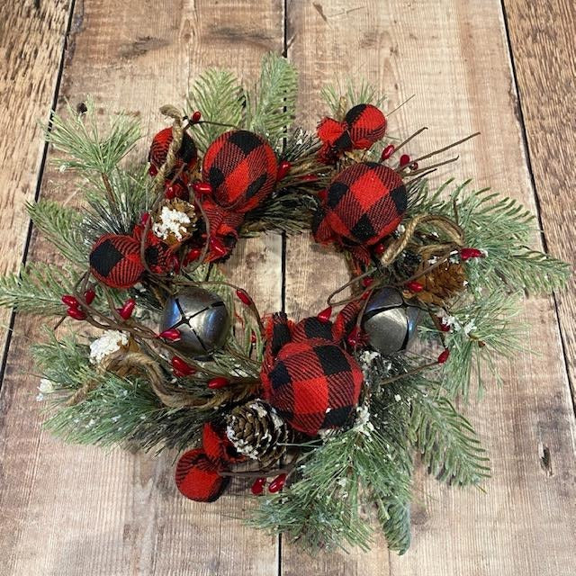 Buffalo Gingham Wreath with Bells
