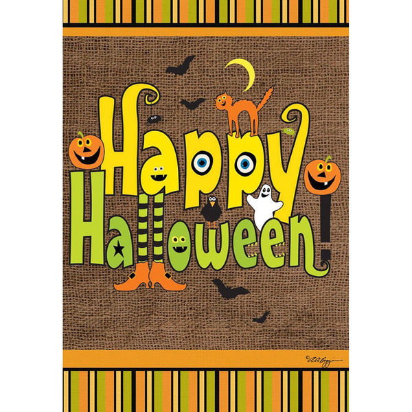 burlap happy halloween flag uk