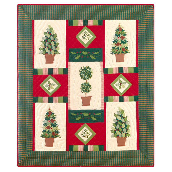 Festive Topiaries Quilted Throw
