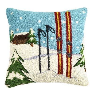 Cabin and Skis Hooked Cushion UK