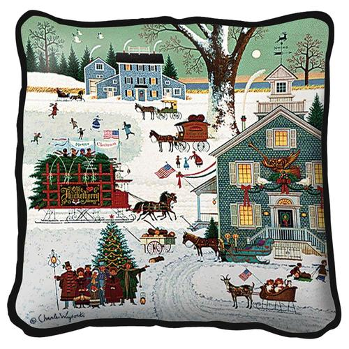 Charles Wysocki Cape Cod Christmas Cushion