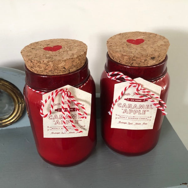 Red Glass Caramel Apple Candle with Cork Heart Lid