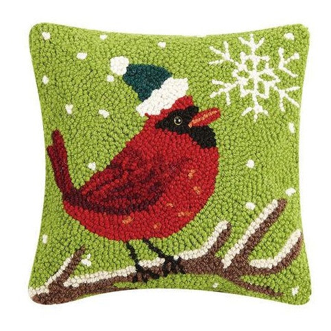 Cardinal Hooked Cushion with Velvet Backing