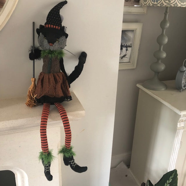 Halloween Cat Lady Doll Decoration