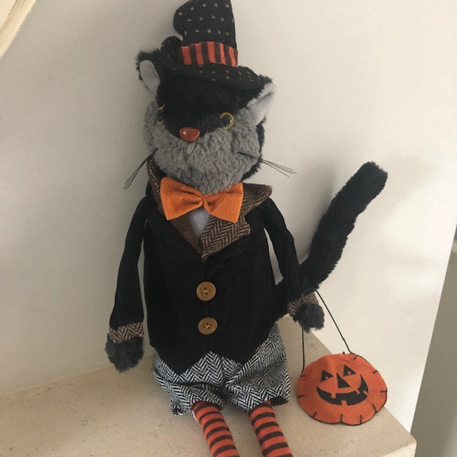 Dapper Male Halloween Cat Doll Decoration