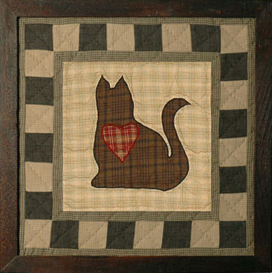 Folk Art Sampler Cat Framed Quilt Block