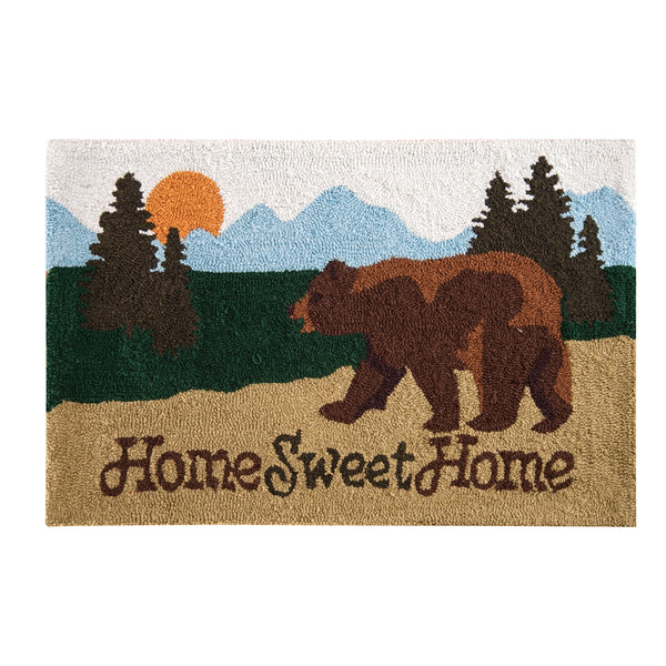 Home Sweet Home Hooked Bear Rug