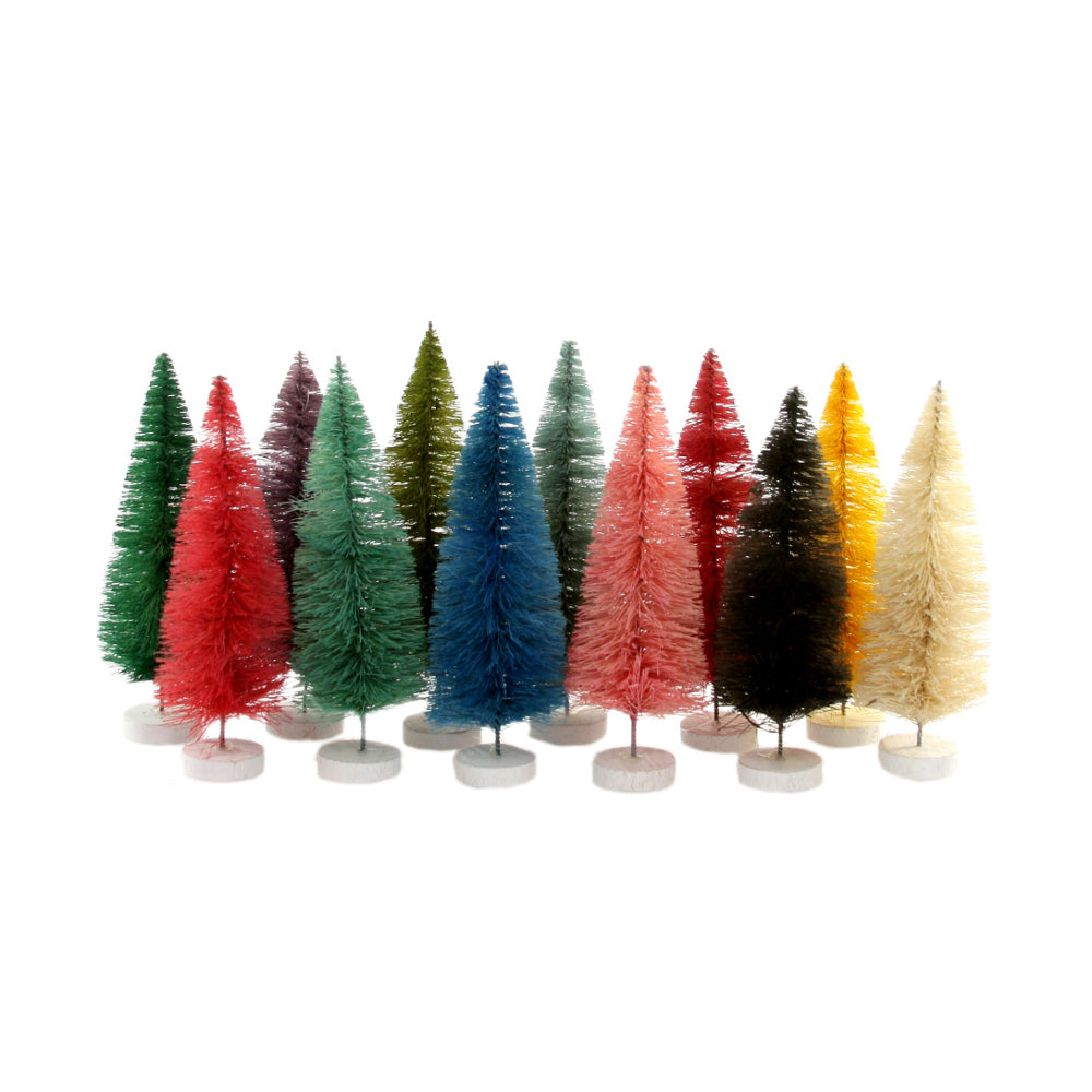 Set of 12 Rainbow Bottle Brush Trees