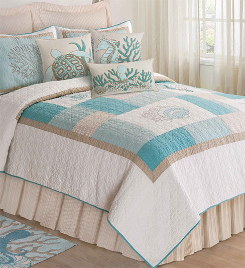 Saltwater Serenity Quilted Bedspread UK