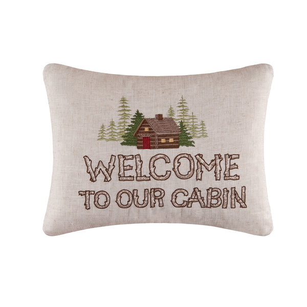 Welcome to our Cabin Embroidered Cushion