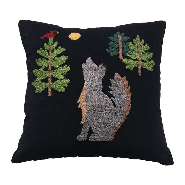 Howling Wolf Velvet Cushion
