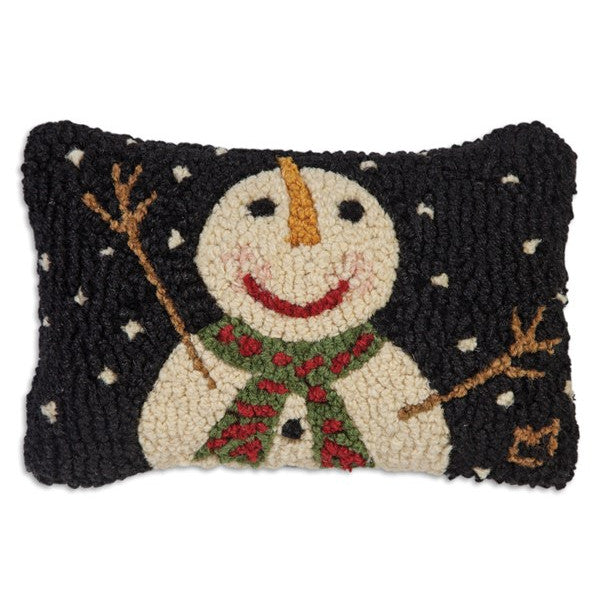 Cheers Snowman and Snowflakes Hooked Cushion
