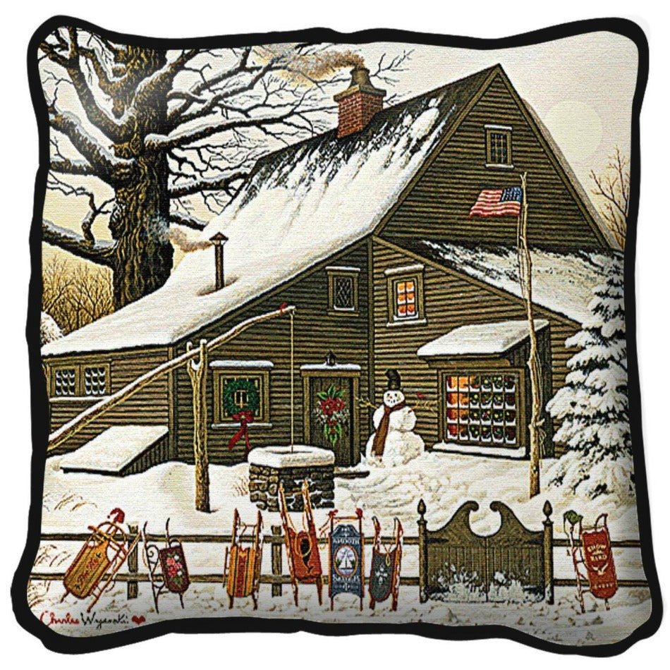 Cocoa Break at the Copperfields Charles Wysocki Woven Cushion