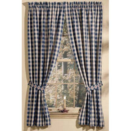 Navy and Tan Check Colonial Star Curtains