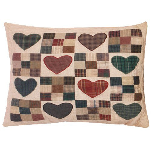 Primitive Country Hearts Pillow Sham