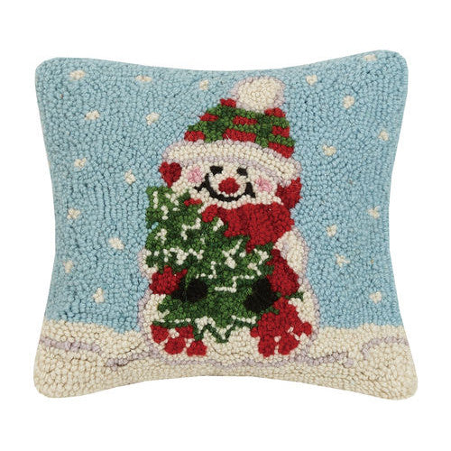 Snowman with Tree Hooked Cushion