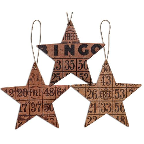 Set of 3 Retro Bingo Star Ornaments