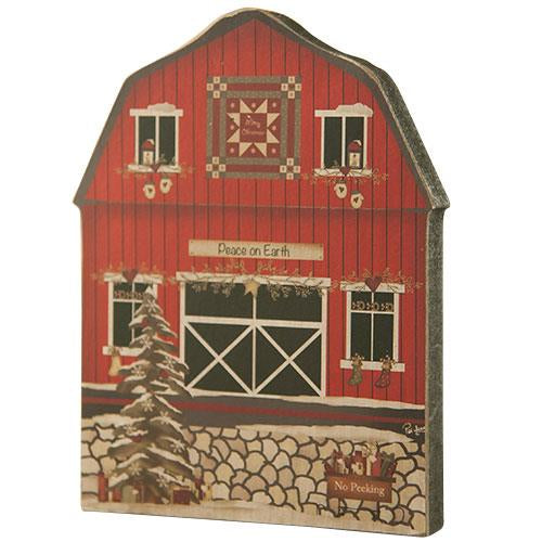 Red Wooden Christmas Barn Decoration