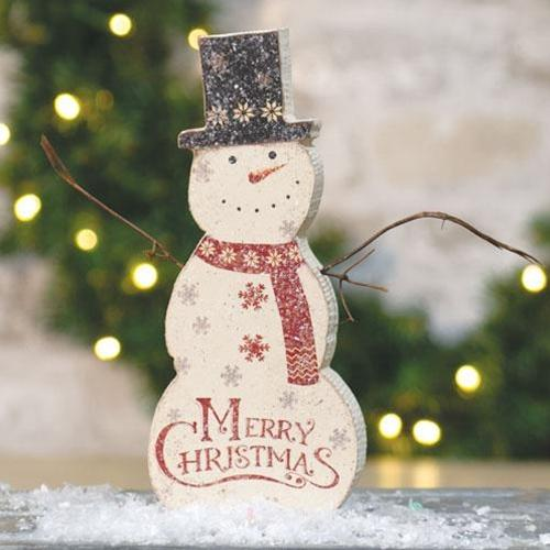 Wooden Merry Christmas Snowman