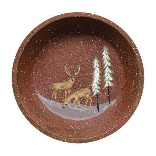 Deer and Trees Rusty Tin Dish