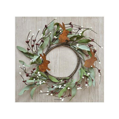 Spring Pip Berry Wreath with Bunnies