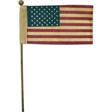 Tea Dyed American Flag on Stick