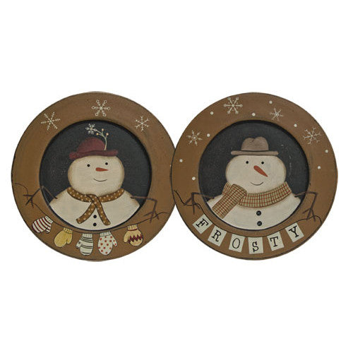 Wooden Snowman Decorative Plate