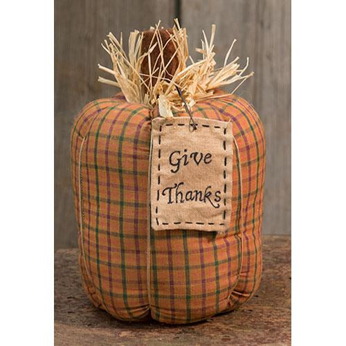 Give Thanks Check Fabric Pumpkin Decoration