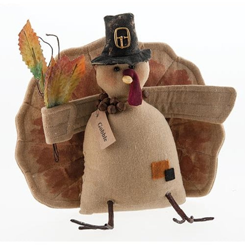 Gobble Turkey Doll with Autumn Leaves