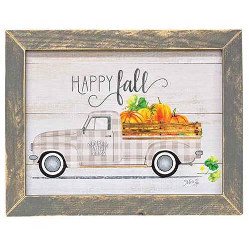 Happy Fall Grey Framed Sign