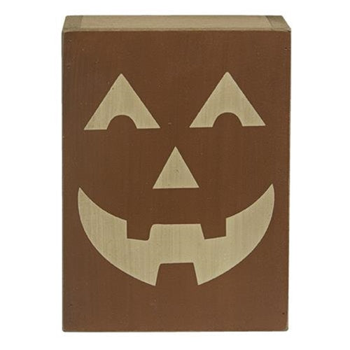 Jack O Lantern Wooden Block Decoration