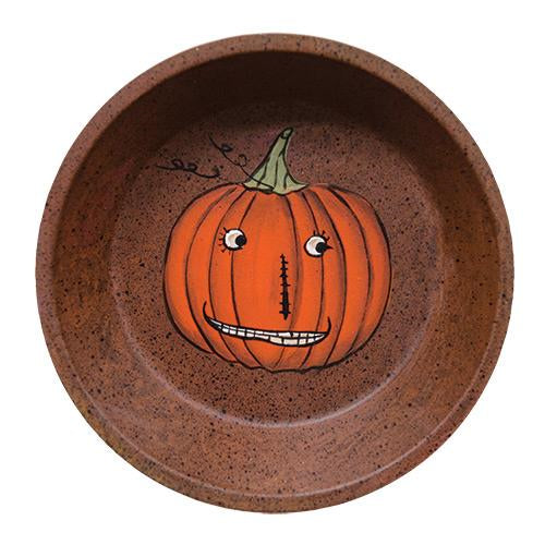 Rusty Tin Dish with Jack O'Lantern