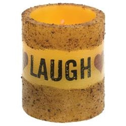 Live Laugh Love Timer Pillar Candle