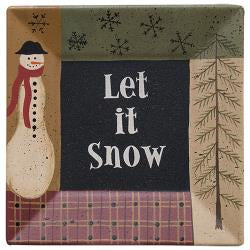 Let it Snow Wooden Plate