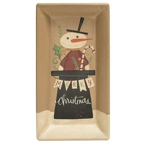 Merry Christmas Snowman Tray