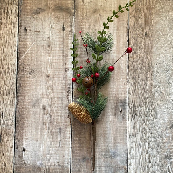 Red Berry Pine Spray with Pine Cone and Bell