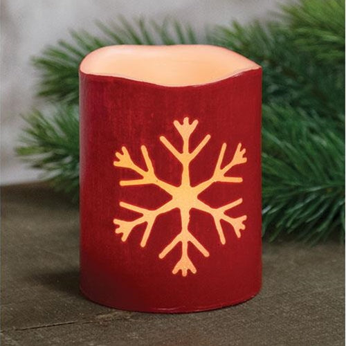 Red Snowflake LED Timer Pillar Candle