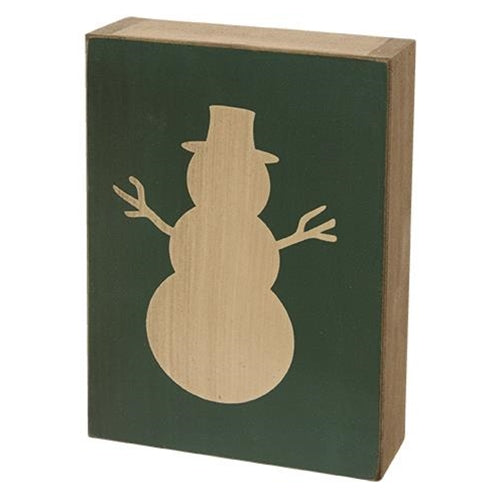 Wooden Snowman Block Decoration